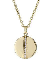 """diamond circle pendant necklace (1/8 ct. t.w.) in 18k gold-plated sterling silver, 16"""" + 2"""" extender"""