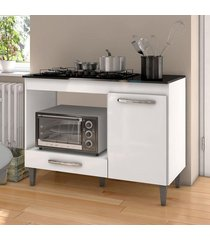 balcão para cooktop 5 bocas e forno microondas carla branco - ajl móveis