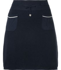 chanel pre-owned drawstring a-line short skirt - blue