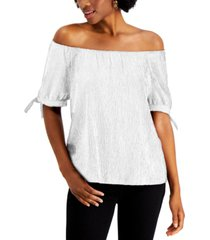 style & co off the shoulder tie-sleeve top, created for macy's