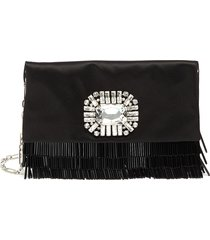 'titania' embellished beaded fringe clutch