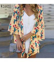 zanzea para mujer de la manga del batwing de la impresión floral de túnica remata la blusa cardiagn coats plus -amarillo