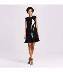 women's black calla lily satin ruffle hem dress victoria beckham target size s