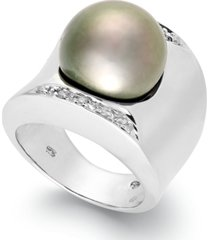 tahitian pearl (13mm) and diamond (1/8 ct. t.w.) ring in sterling silver