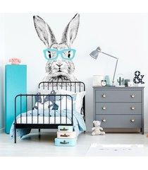 królik cz-b w turkusowych okularach - naklejka