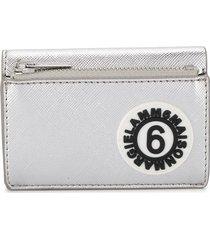 mm6 maison margiela logo patch folding wallet - silver