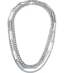 mens silver layered necklace*
