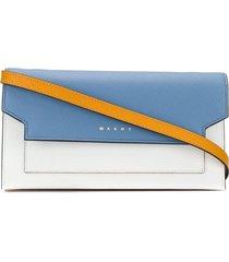 marni rectangular wallet with shoulder strap - blue