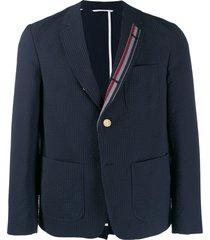 thom browne seersucker sack sport jacket - blue