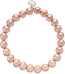 charter club silver-tone pink imitation pearl bracelet, created for macy's