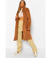 petite lange geborstelde nepwollen jas met ceintuur, camel
