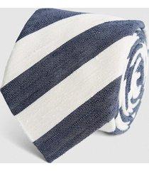 reiss cannes - silk blend striped tie in ecru/navy, mens