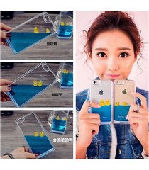 floating rubber swim cute duck 3d blue water hard case for iphone 5 5s 6 6plus