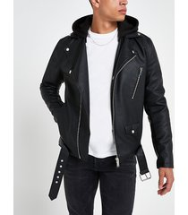 river island mens black hooded faux leather biker jacket
