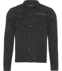 jaqueta masculina black trucker patchs - preto