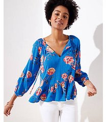 loft beach shimmer garden split neck top