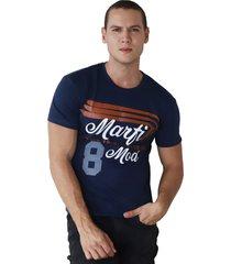 camiseta de hombre marfil slim fit algodon azul oscuro