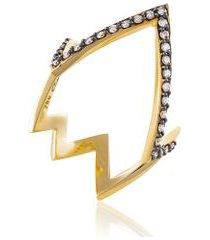 anel stardust diamante amarelo c/ diamante ttlb - 17