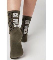 calzedonia cotton sport ankle socks woman green size tu