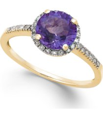 amethyst (1-1/6 ct. t.w.) and diamond (1/8 ct. t.w.) ring in 14k gold