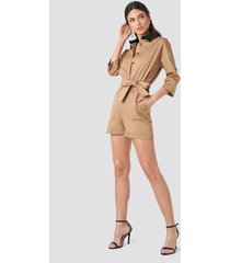 trendyol waist pleated jumpsuit - beige