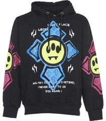 barrow black cotton hoodie with print