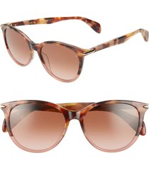 women's rag & bone 54mm round cat eye sunglasses - pink havana