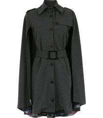 tufi duek cape belted dress - grey