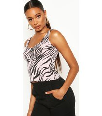 animal print button front rib tank top, pink