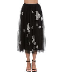 red valentino embroidered flower skirt