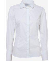 camisa dudalina manga longa jacquard pespontos feminina (branco, 46)