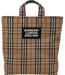 burberry check shoppers bag