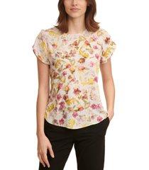 dkny floral-print tulip-sleeve top