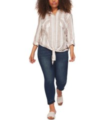 black tape plus size striped tie-hem shirt
