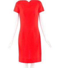 oscar de la renta wool boat neck dress orange sz: m