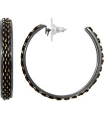 2028 women's black tone and gold tone thin hoop earrings