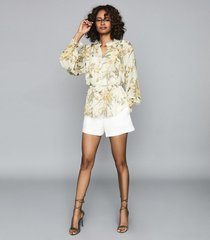 reiss alandra print - floral printed ruffled top in ivory, womens, size 14