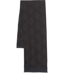 canali men's graphic wool scarf - brown