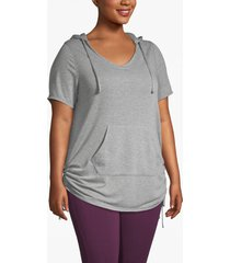 lane bryant women's active french terry hoodie - ruched sides 22/24 gray