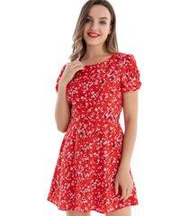 enterito tipo vestido floral rojo nicopoly