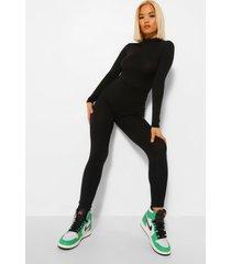 petite high neck long sleeve jumpsuit, black