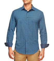 tallia men's slim fit houndstooth geo print long sleeve shirt and a free face mask