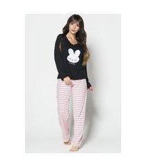 pijama feminino serra e mar modas longo bordado kahlen preto