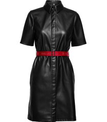 faux leather shirt dress kort klänning svart karl lagerfeld