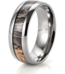 real brown tree camo ring outdoor hunting wedding band titanium ring