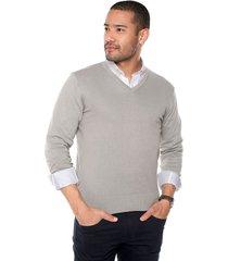 sweater gris 32 preppy m/l c/v tejido delgado