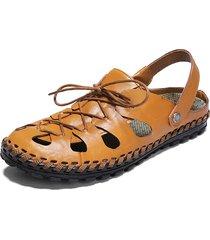 sandali in pelle con foro antiscivolo resistenti all'acqua per uomo