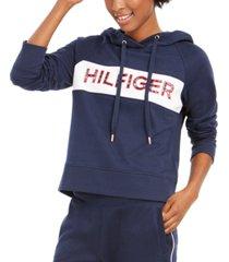 tommy hilfiger sport colorblocked logo fleece hoodie