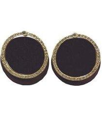 brinco armazem rr bijoux redondo marrom cristais swarovski dourado - feminino