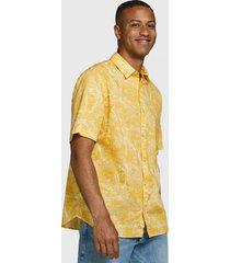 camisa jack & jones amarillo - calce regular